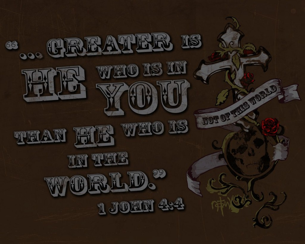 1 John 4:4 – Greater Is He Who Is In You christian wallpaper free download. Use on PC, Mac, Android, iPhone or any device you like.