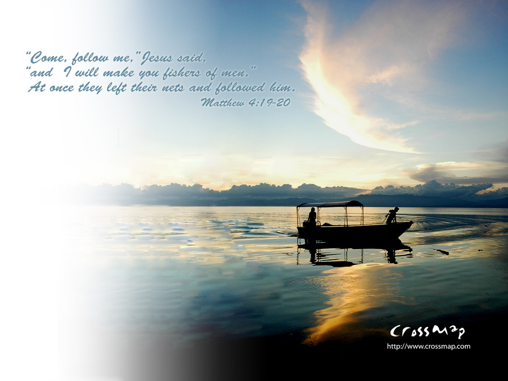 Matthew 4:19-20 – Follow Jesus christian wallpaper free download. Use on PC, Mac, Android, iPhone or any device you like.