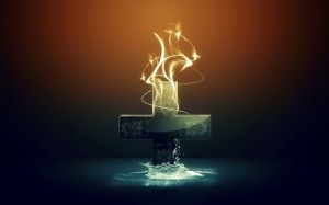 Cross, Fire and Water Wallpaper