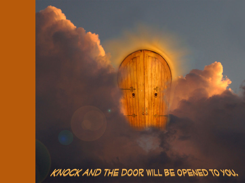 Matthew 7:8 – Door Will Be Opened christian wallpaper free download. Use on PC, Mac, Android, iPhone or any device you like.