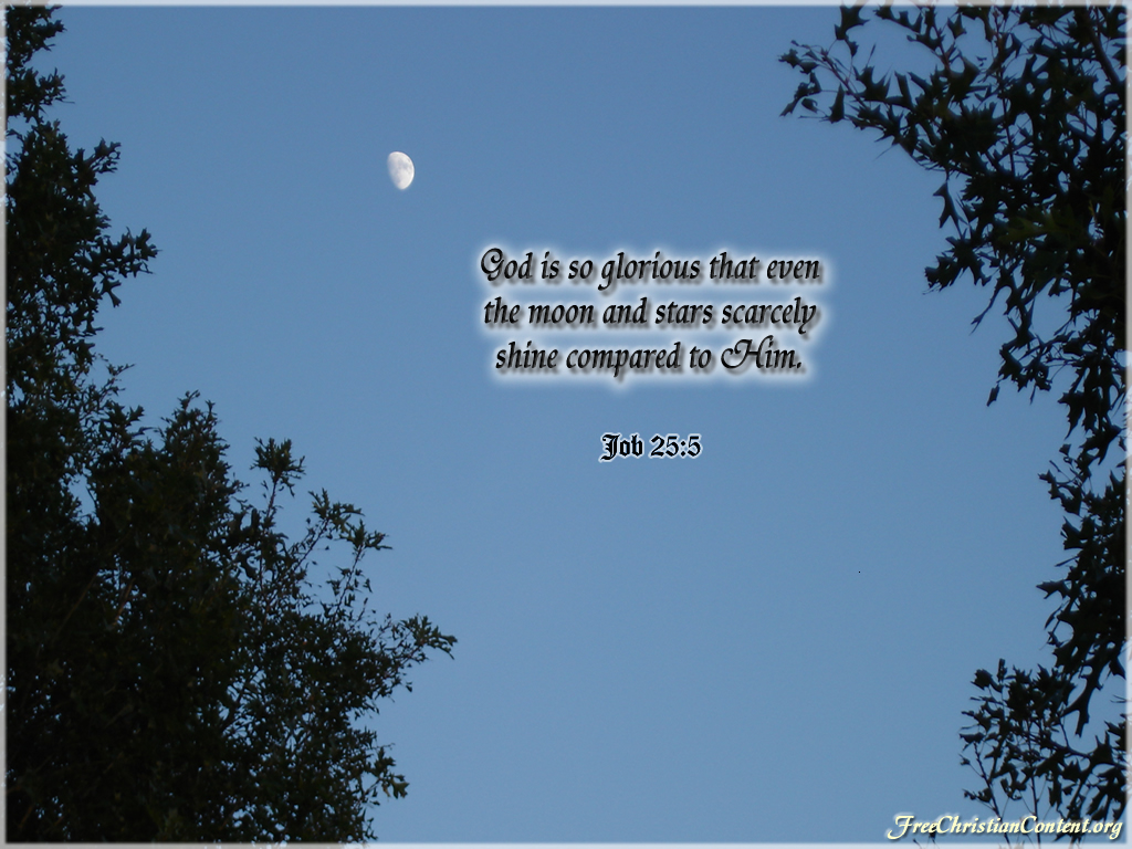 Job 25:5 – Moon and Stars christian wallpaper free download. Use on PC, Mac, Android, iPhone or any device you like.