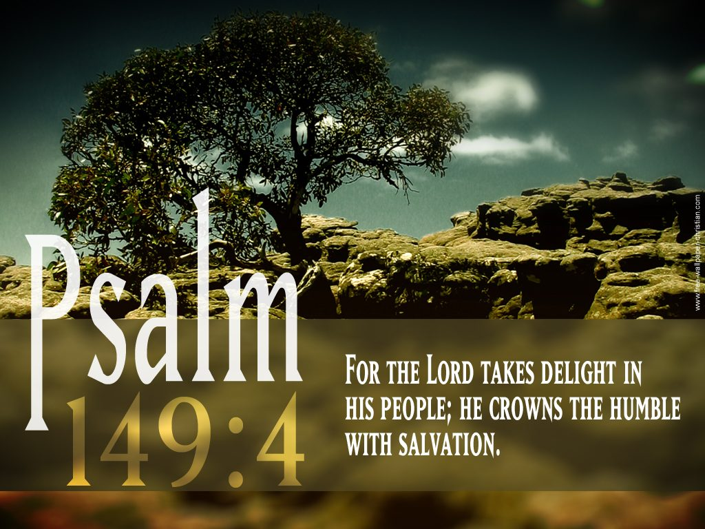 Psalm 149:4 – Crown of Victory christian wallpaper free download. Use on PC, Mac, Android, iPhone or any device you like.