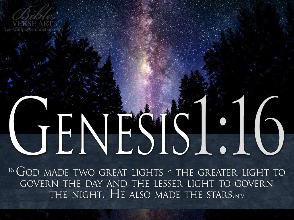 Genesis 1:16 – Two Great Lights christian wallpaper free download. Use on PC, Mac, Android, iPhone or any device you like.