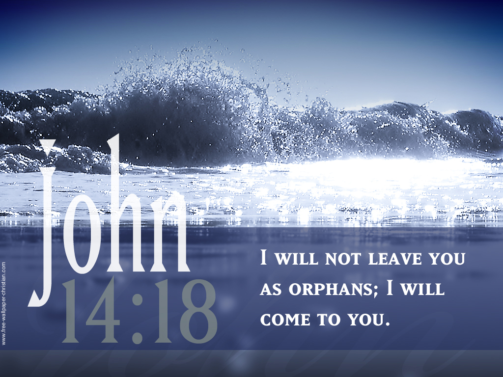 John 14:18 – Will Not Leave christian wallpaper free download. Use on PC, Mac, Android, iPhone or any device you like.