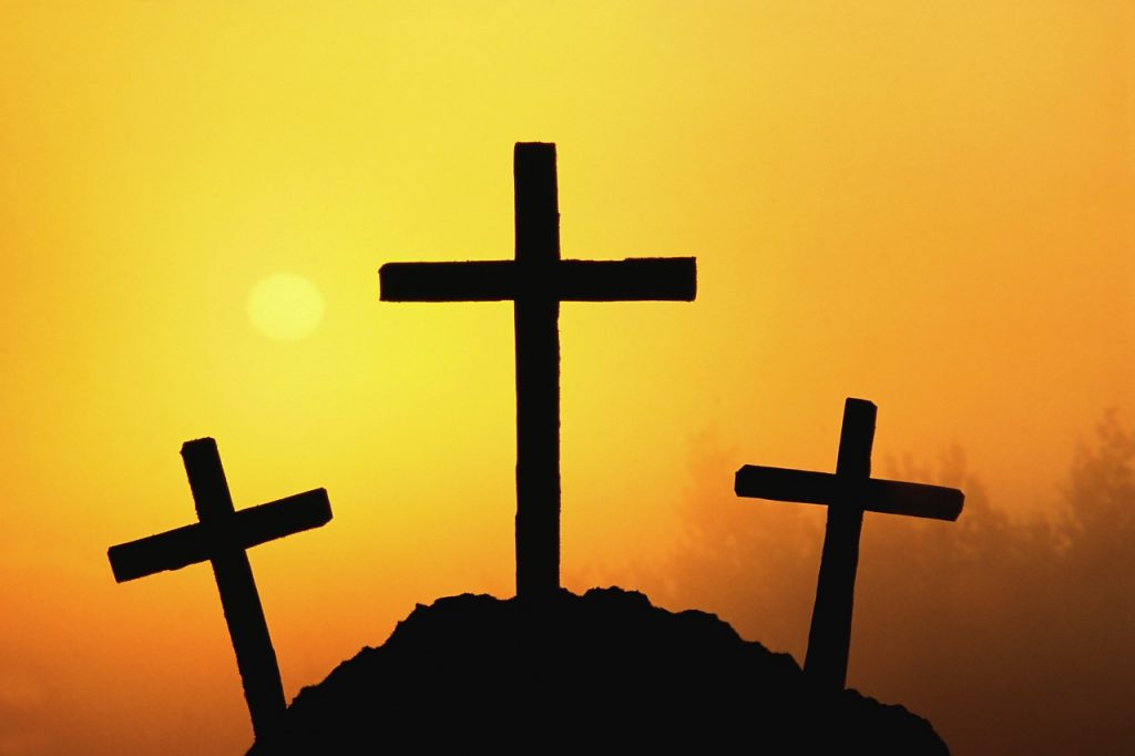 Christian Photography: Silhouette of The Three Crosses christian wallpaper free download. Use on PC, Mac, Android, iPhone or any device you like.
