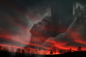 Christian Graphic: A Sunset With Jesus Christ of Nazareth on the Cross Wallpaper