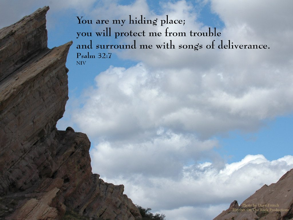 Psalm 32:7 – Hiding Place christian wallpaper free download. Use on PC, Mac, Android, iPhone or any device you like.