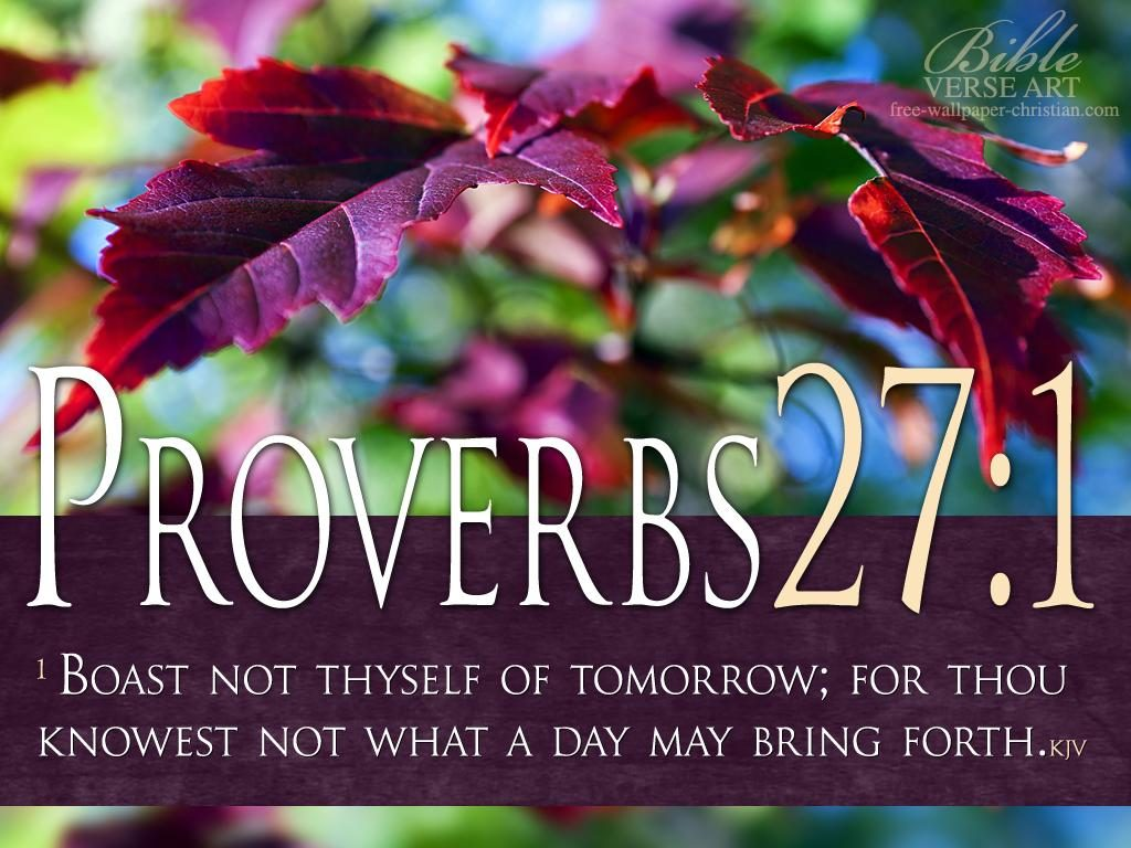 Proverbs 27:1 – Boast Not Thyself christian wallpaper free download. Use on PC, Mac, Android, iPhone or any device you like.