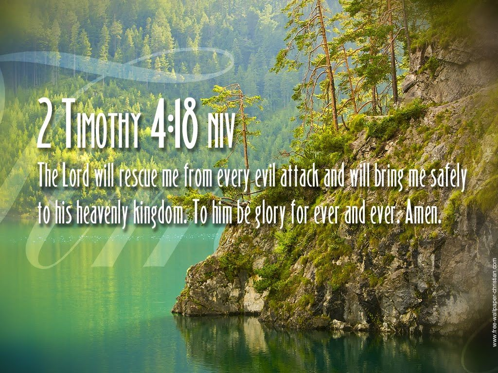 2 Timothy 4:18 – The Lord Will Rescue Me christian wallpaper free download. Use on PC, Mac, Android, iPhone or any device you like.