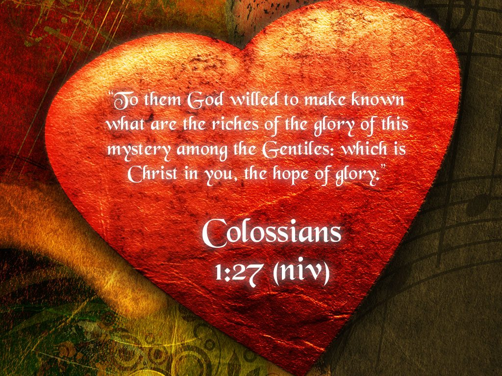 Colossians 1:27 – Hope of Glory christian wallpaper free download. Use on PC, Mac, Android, iPhone or any device you like.
