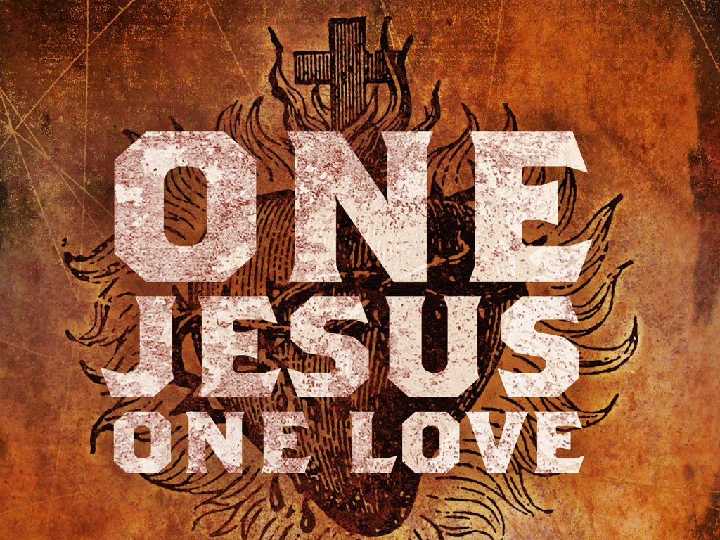 Christian Graphic: One Jesus, One Love christian wallpaper free download. Use on PC, Mac, Android, iPhone or any device you like.
