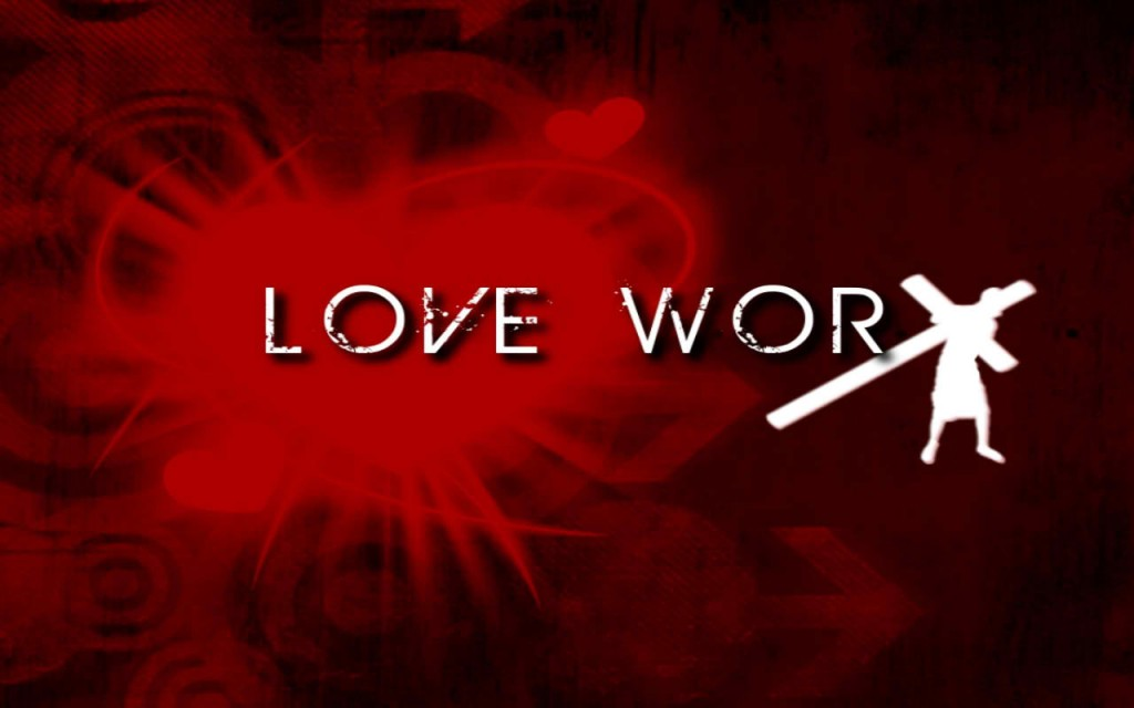 Christian Graphic: Love WorX Red Background christian wallpaper free download. Use on PC, Mac, Android, iPhone or any device you like.