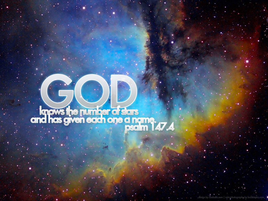 Psalm 147:4 – Numbered christian wallpaper free download. Use on PC, Mac, Android, iPhone or any device you like.