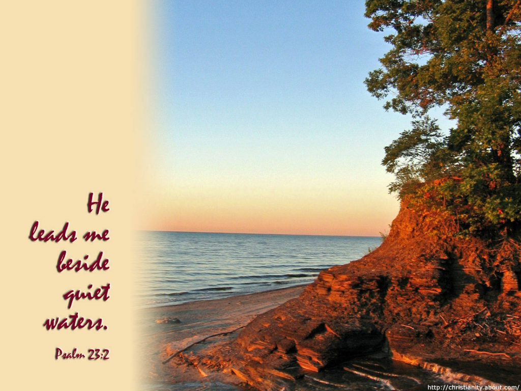 Psalm 23:2 – Still Waters christian wallpaper free download. Use on PC, Mac, Android, iPhone or any device you like.