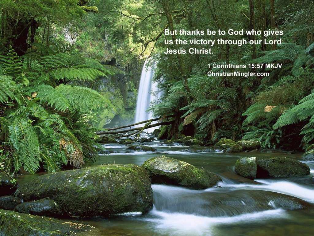 1 Corinthians 15:57 – He Gives Us Victory christian wallpaper free download. Use on PC, Mac, Android, iPhone or any device you like.