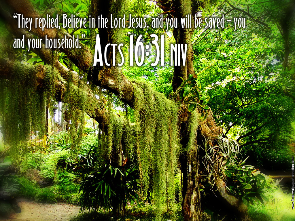 Acts 16:31 – Believe In The Lord Jesus christian wallpaper free download. Use on PC, Mac, Android, iPhone or any device you like.