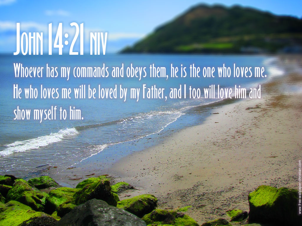 John 14:21 – Keep His Commandments christian wallpaper free download. Use on PC, Mac, Android, iPhone or any device you like.