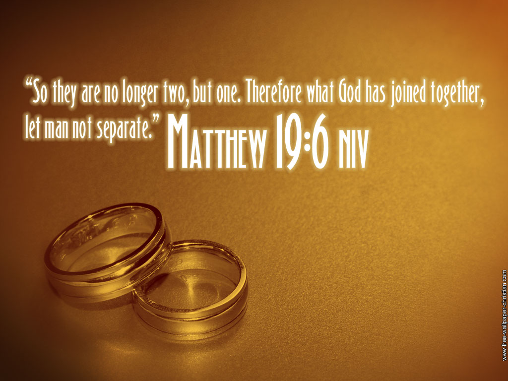 Matthew 19:6 – Let Man Not Separate. christian wallpaper free download. Use on PC, Mac, Android, iPhone or any device you like.