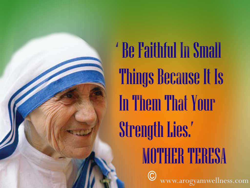 Christian Quote: Faithfulness By Mother Teresa christian wallpaper free download. Use on PC, Mac, Android, iPhone or any device you like.