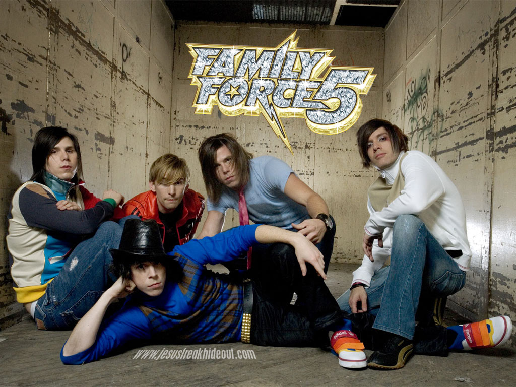 Christian Band: Family Force 5 Wacky Pose christian wallpaper free download. Use on PC, Mac, Android, iPhone or any device you like.
