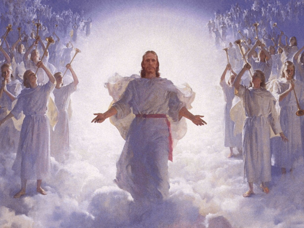 Christian Image: Jesus Christ on Heaven with Angels christian wallpaper free download. Use on PC, Mac, Android, iPhone or any device you like.