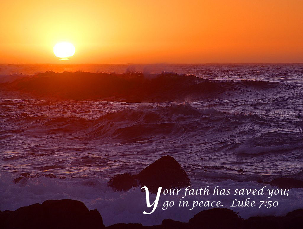 Luke 7:50 – Faith Saves christian wallpaper free download. Use on PC, Mac, Android, iPhone or any device you like.