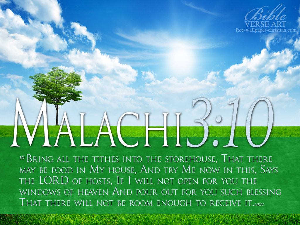 Malachi 3:10 – Flowing Blessings christian wallpaper free download. Use on PC, Mac, Android, iPhone or any device you like.