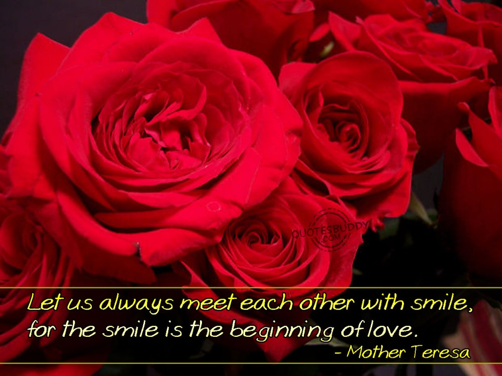Christian Quote: Smile And Love by Mother Teresa christian wallpaper free download. Use on PC, Mac, Android, iPhone or any device you like.