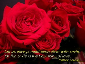 Christian Quote: Smile And Love by Mother Teresa Wallpaper