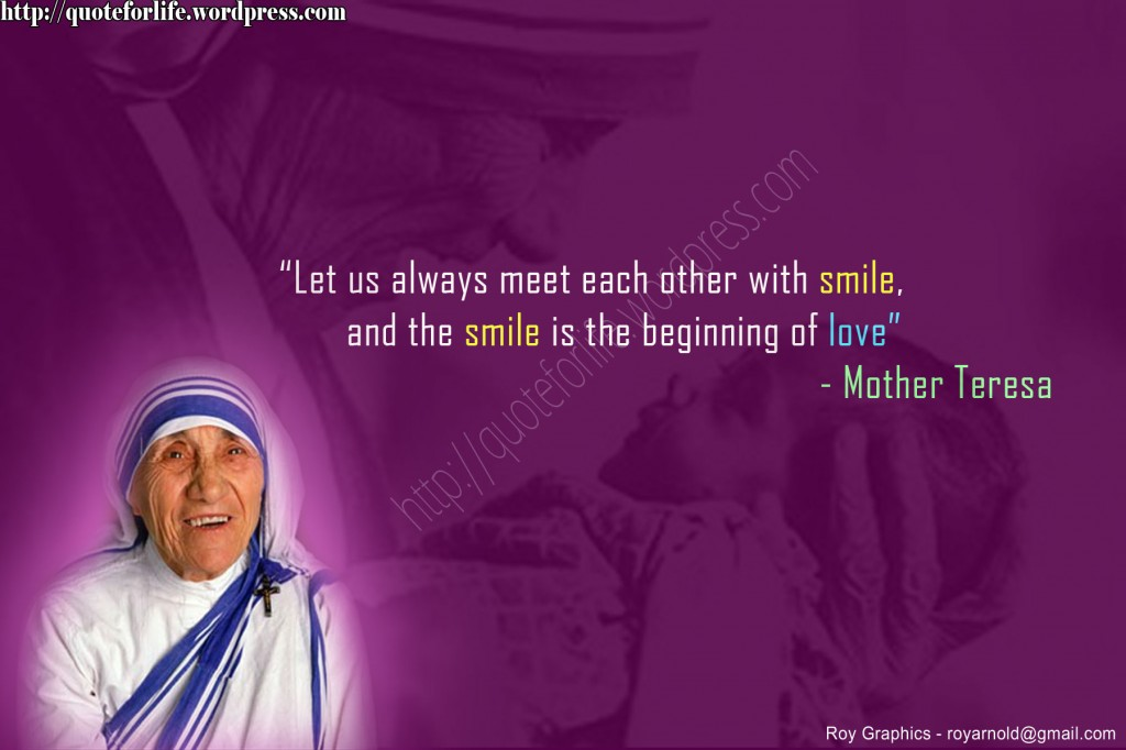 Christian Quote: Smile By Mother Teresa christian wallpaper free download. Use on PC, Mac, Android, iPhone or any device you like.