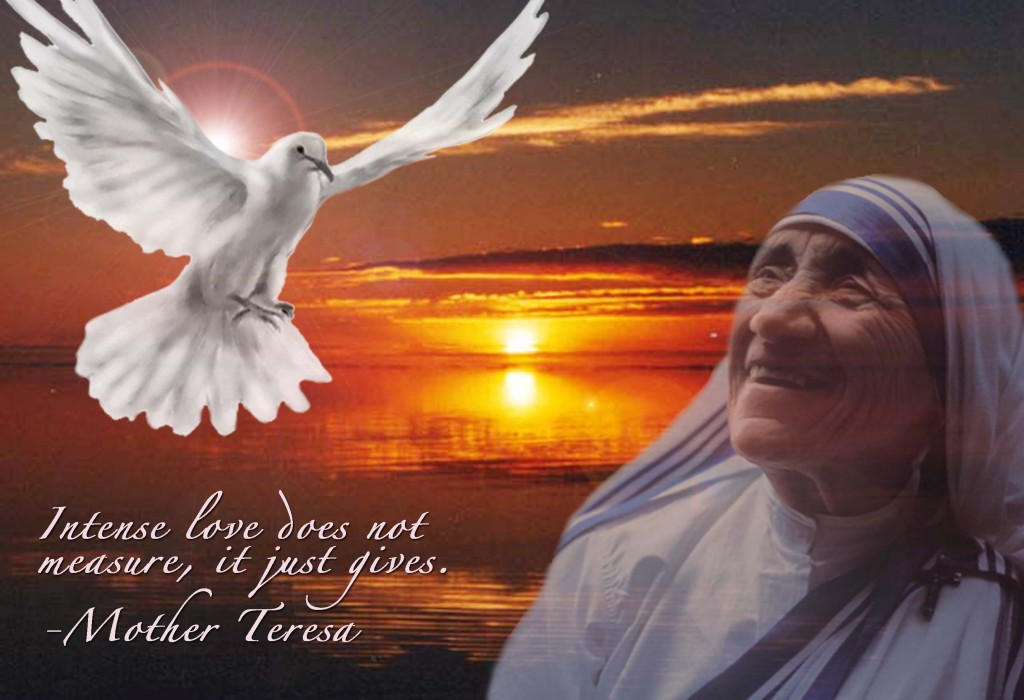Christian Quote: Intense Love By Mother Teresa christian wallpaper free download. Use on PC, Mac, Android, iPhone or any device you like.