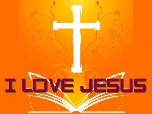 I Love Jesus – The Cross And Holy Bible Wallpaper