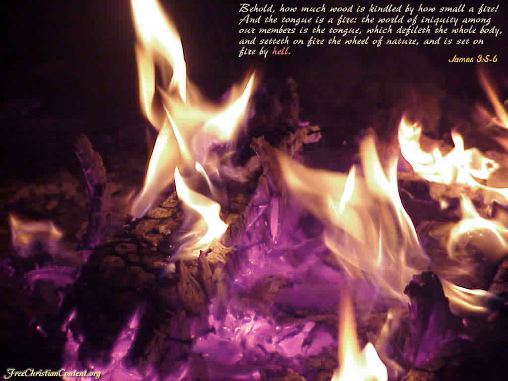 James 3:5-6 – Power of Tongue christian wallpaper free download. Use on PC, Mac, Android, iPhone or any device you like.
