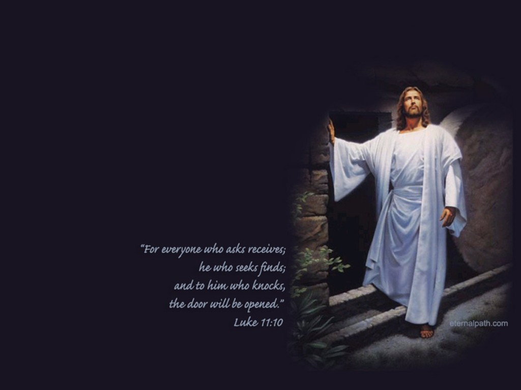 Luke 11:10 – Jesus Gives Hope christian wallpaper free download. Use on PC, Mac, Android, iPhone or any device you like.