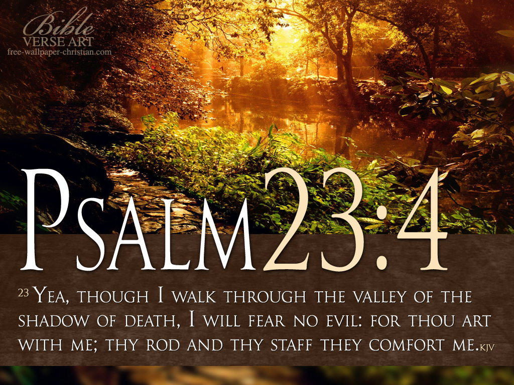 Psalm 23:4 – I Will Fear No Evil christian wallpaper free download. Use on PC, Mac, Android, iPhone or any device you like.