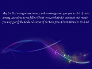 Romans 15:5-6 – Glorify God Wallpaper