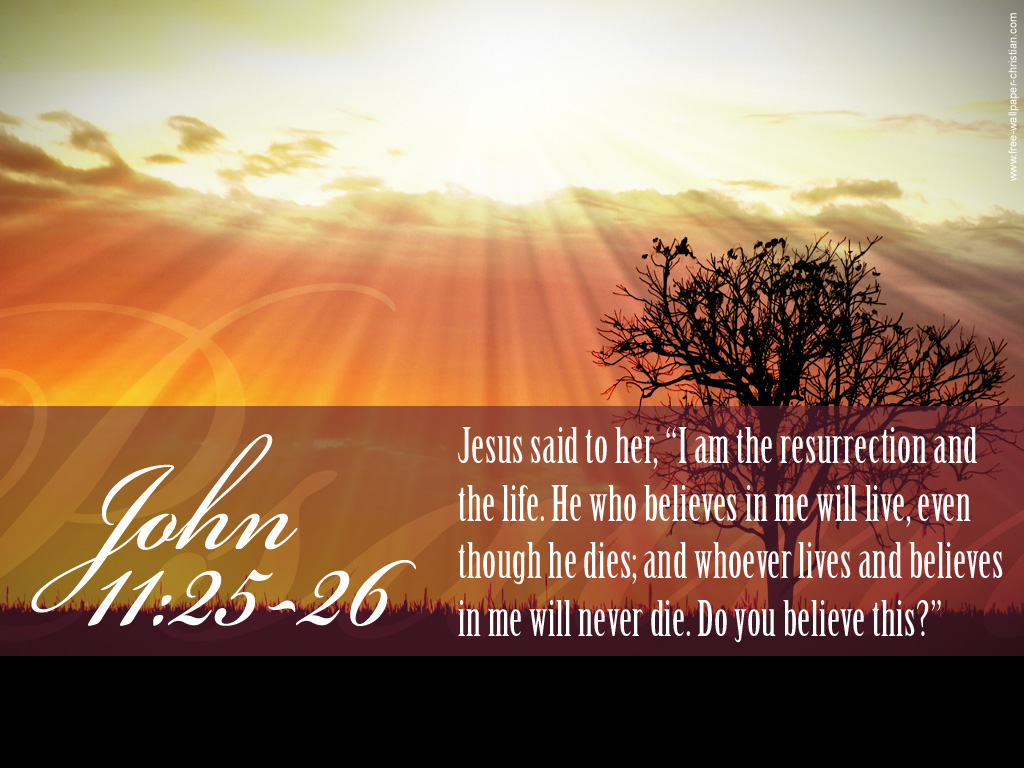 John 11:25-26 – I am the resurrection and the life christian wallpaper free download. Use on PC, Mac, Android, iPhone or any device you like.