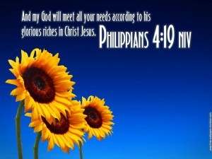 Philippians 4:19 – God will meet all your needs Wallpaper