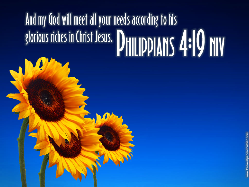 Philippians 4:19 – God will meet all your needs christian wallpaper free download. Use on PC, Mac, Android, iPhone or any device you like.