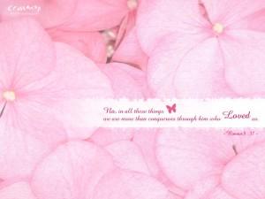 Romans 8:37 – Conquerors through Him Wallpaper