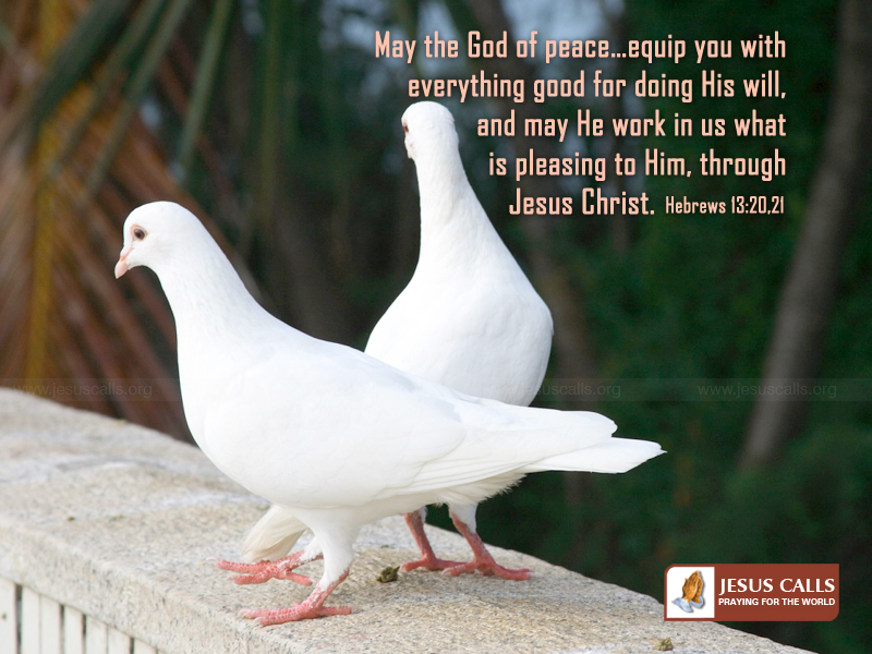 Hebrews 13:20-21 -God of Peace christian wallpaper free download. Use on PC, Mac, Android, iPhone or any device you like.