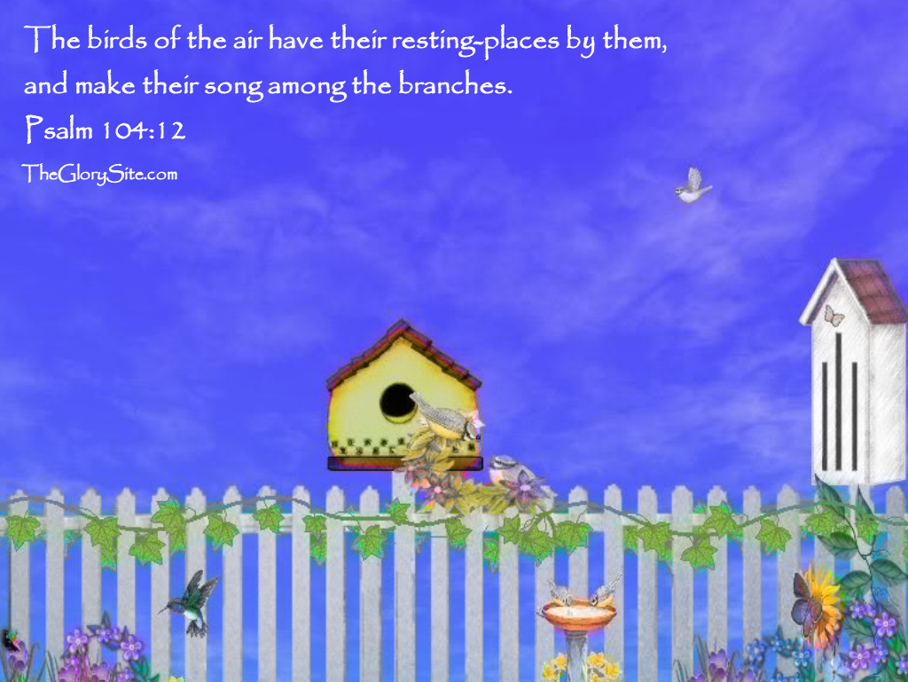 Psalm 104:12 – Their Song christian wallpaper free download. Use on PC, Mac, Android, iPhone or any device you like.