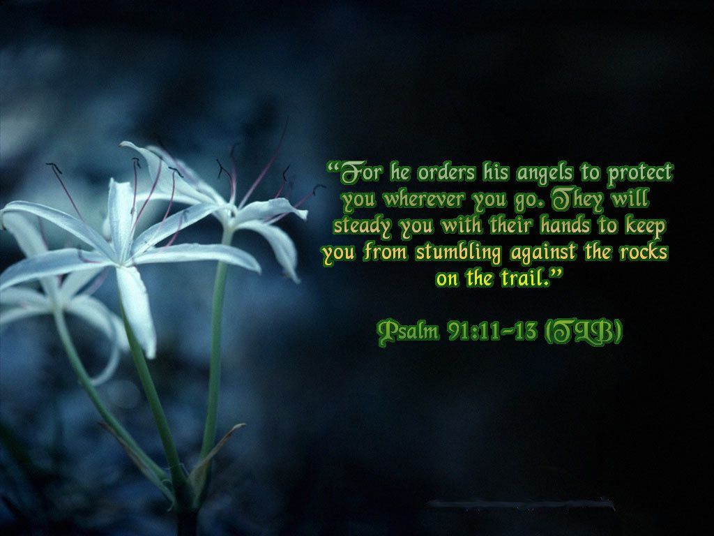 Psalm 91:11-13 – His Angels christian wallpaper free download. Use on PC, Mac, Android, iPhone or any device you like.