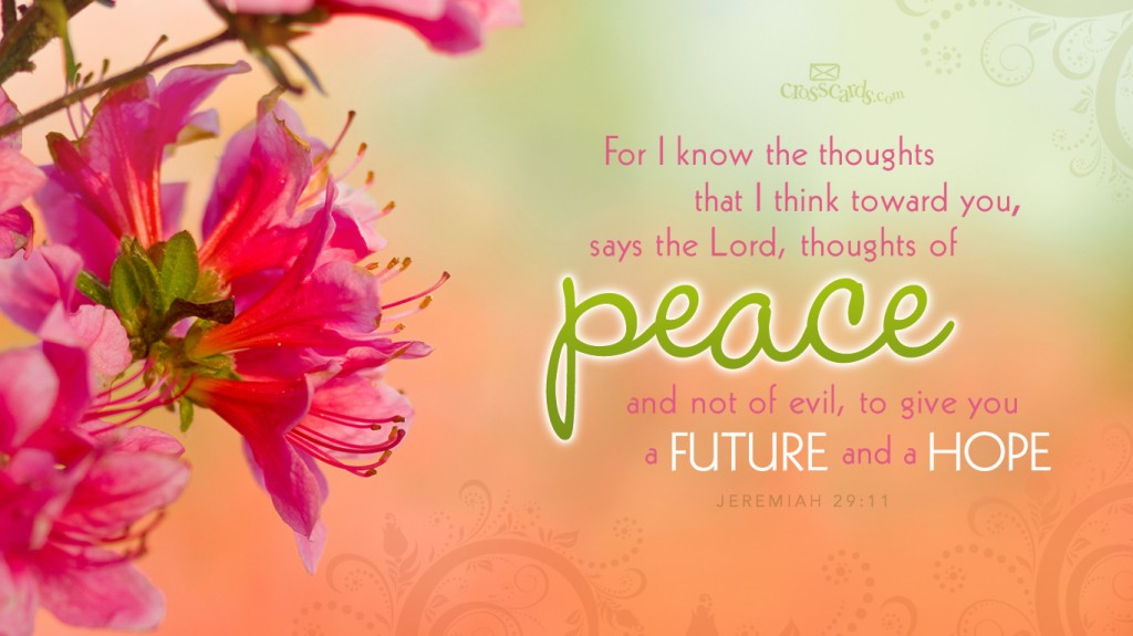 Jeremiah 29:11 – Thoughts of Peace christian wallpaper free download. Use on PC, Mac, Android, iPhone or any device you like.