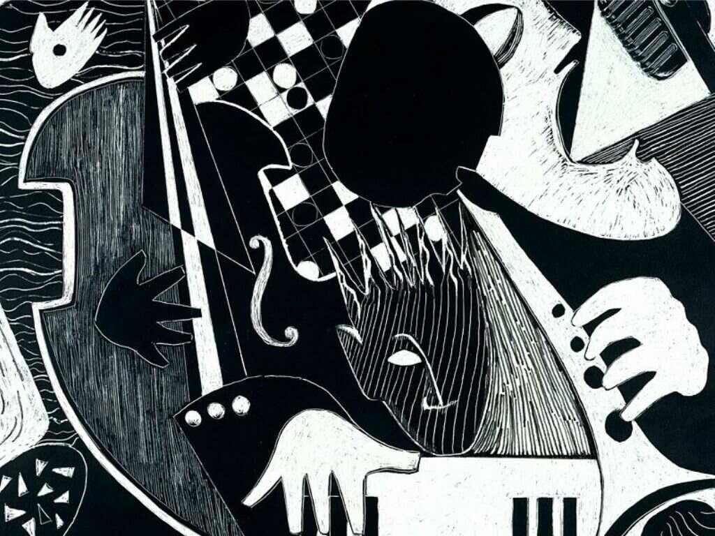 Art in black and white papel de parede imagem